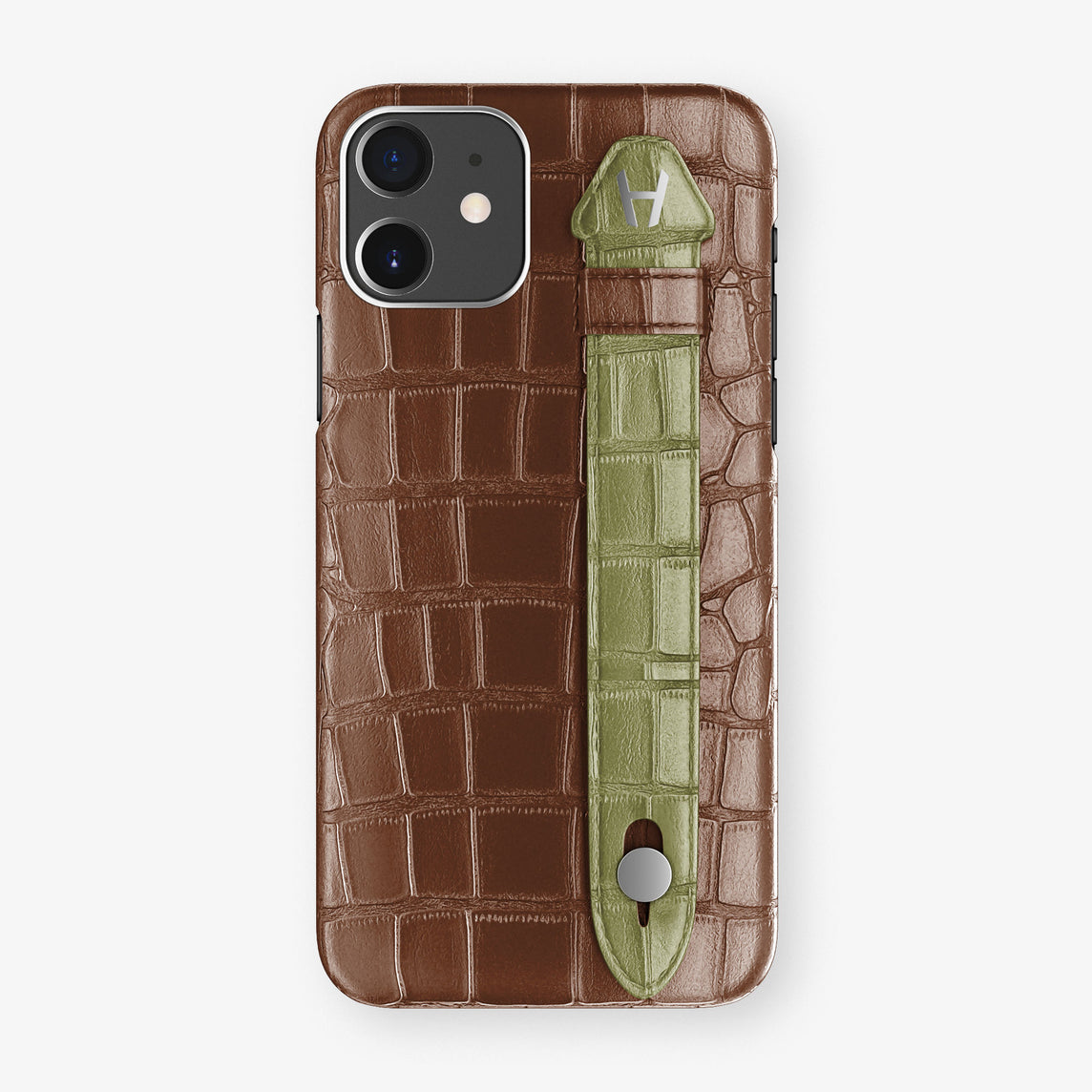 Alligator Side Finger Case Phone 11  | Brown/Khaki - Stainless-Steel