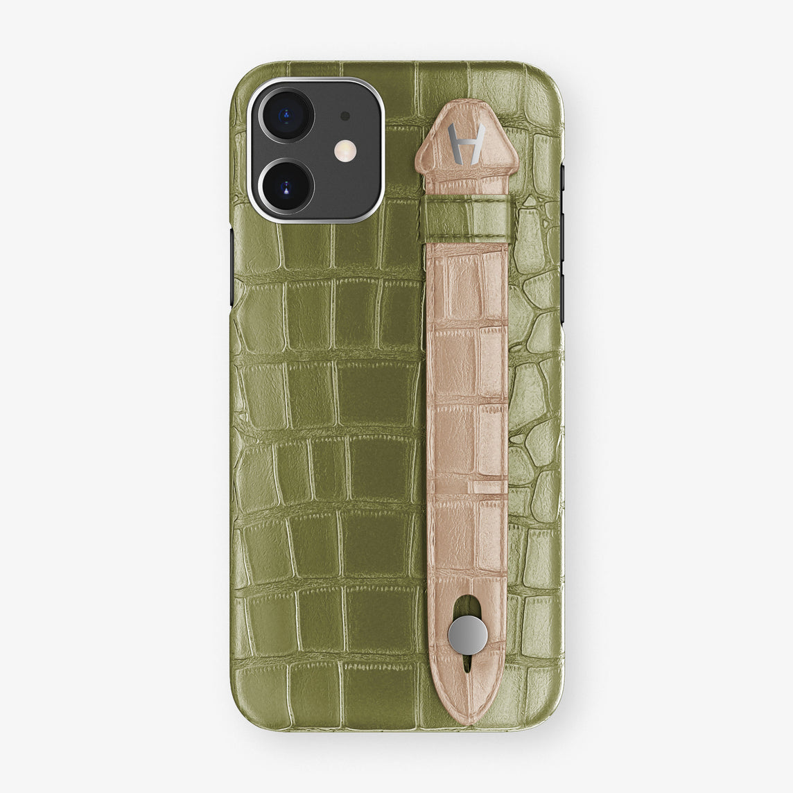 Alligator Side Finger Case Phone 11  | Khaki/Latte - Stainless-Steel