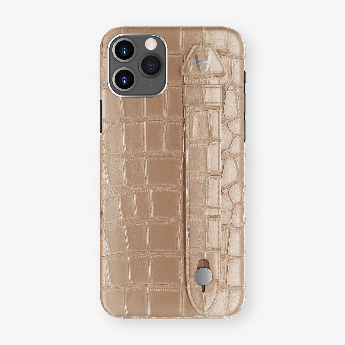 Alligator Side Finger Case Phone 11 Pro  | Latte/Latte - Stainless-Steel