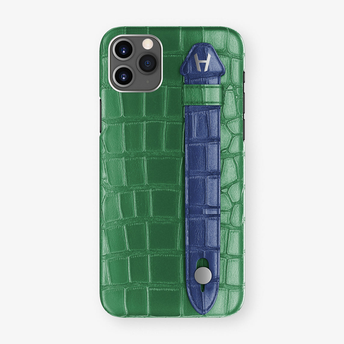 Alligator Side Finger Case Phone 11 Pro Max  | Green Emerald/Navy Blue - Stainless-Steel
