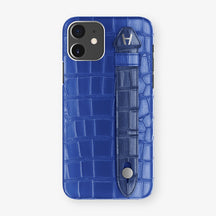 Alligator Side Finger Case Phone 11  | Peony-Blue/Navy-Blue - Stainless-Steel