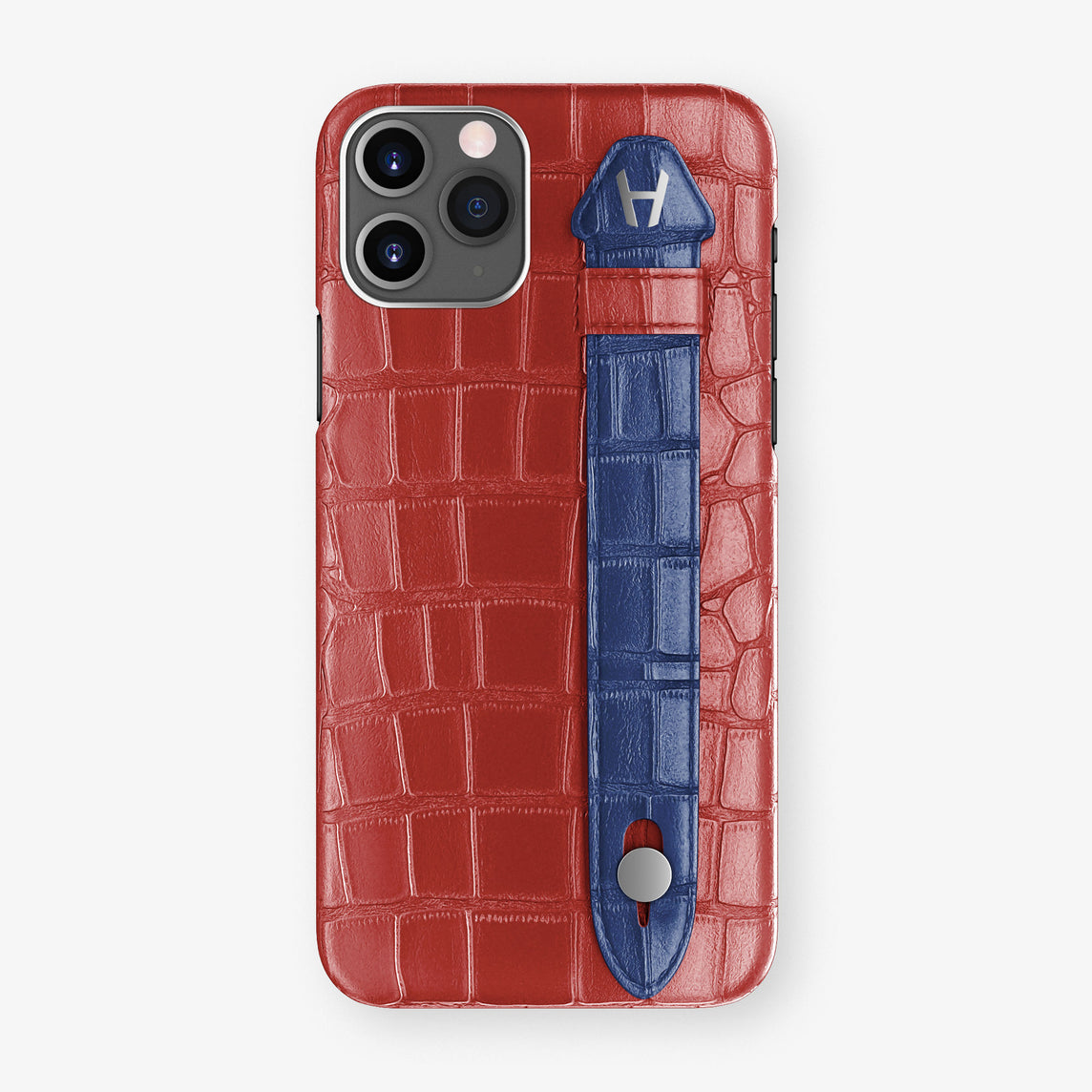 Alligator Side Finger Case Phone 11 Pro  | Red-Ruby-Nacre/Navy-Blue - Stainless-Steel