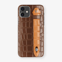 Alligator Side Finger Case Phone 11  | Brown/Orange - Stainless-Steel