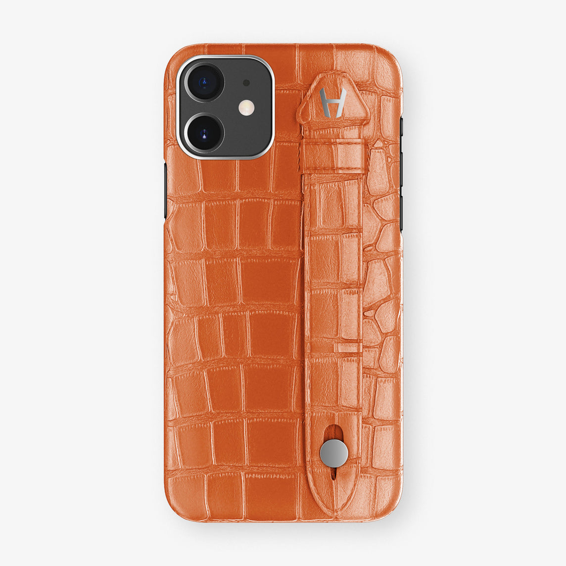 Alligator Side Finger Case Phone 11  | Orange-Sunset/Orange-Sunset - Stainless-Steel
