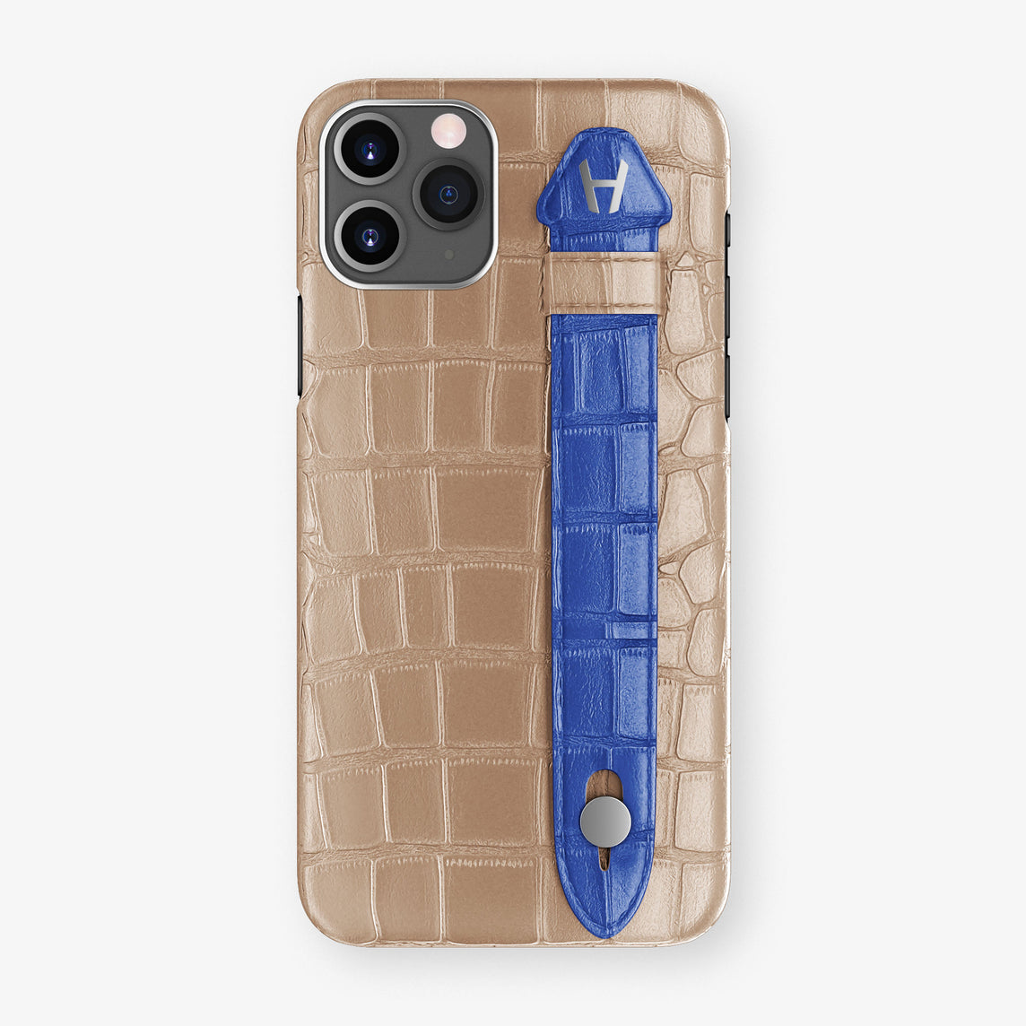 Alligator Side Finger Case Phone 11 Pro  | Latte/Peony-Blue - Stainless-Steel