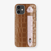 Alligator Side Finger Case Phone 11  | Cognac/Pink-Poudre - Stainless-Steel
