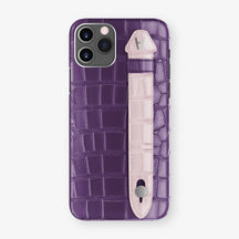 Alligator Side Finger Case Phone 11 Pro  | Purple/Pink-Poudre - Stainless-Steel