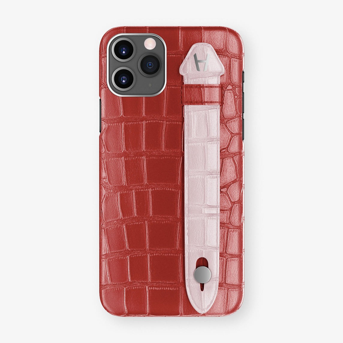 Alligator Side Finger Case Phone 11 Pro  | Red-Ruby-Nacre/Pink-Poudre - Stainless-Steel