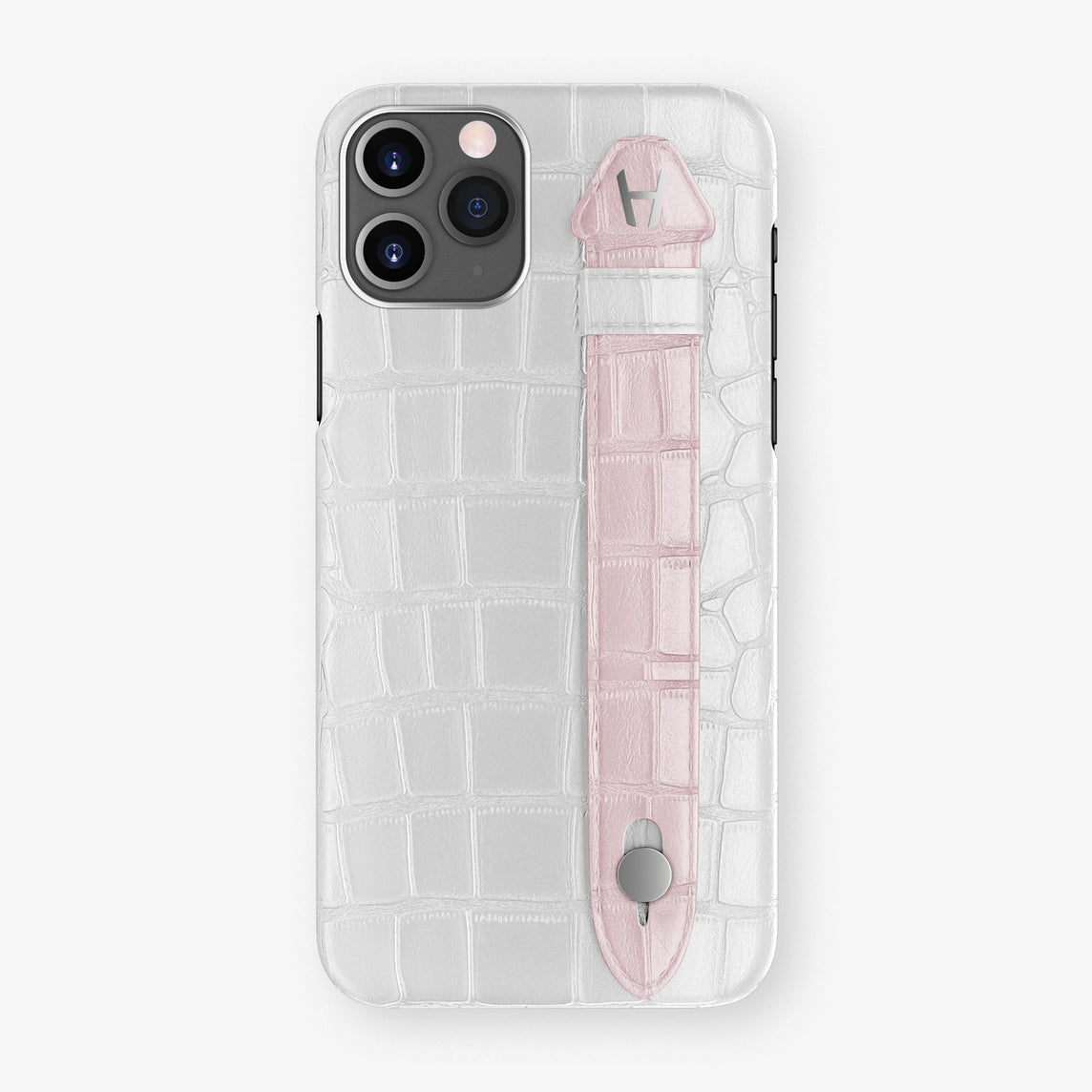 Alligator Side Finger Case Phone 11 Pro  | White/Pink-Poudre - Stainless-Steel