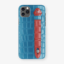 Alligator Side Finger Case Phone 11 Pro Max  | Blue-Lagoon/Red-Ruby-Nacre - Stainless-Steel