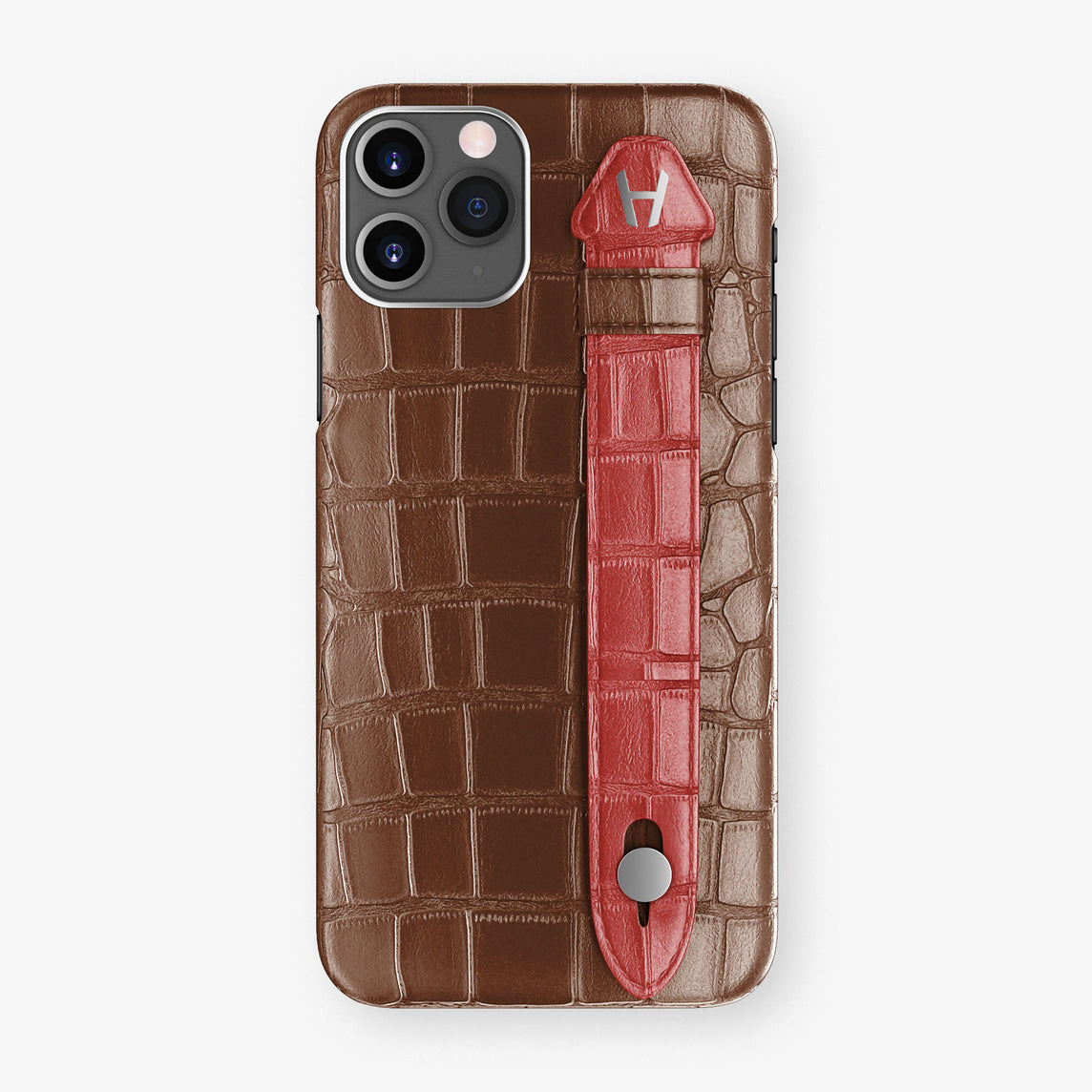 Alligator Side Finger Case Phone 11 Pro  | Brown/Red-Ruby-Nacre - Stainless-Steel