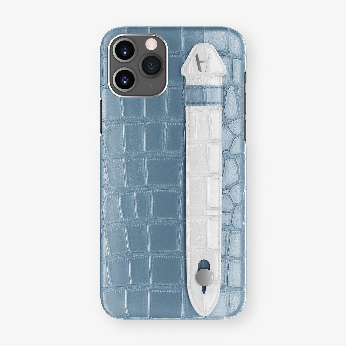 Alligator Side Finger Case Phone 11 Pro  | Blue-Ciel/White - Stainless-Steel