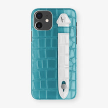 Alligator Side Finger Case Phone 11  | Blue-Teal/White - Stainless-Steel