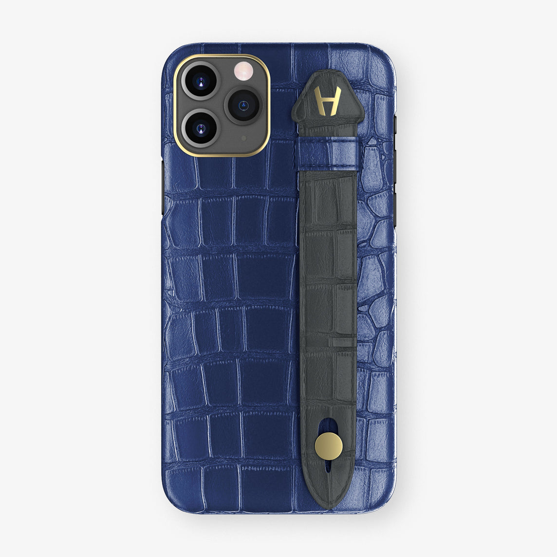 Alligator Side Finger Case Phone 11 Pro  | Navy-Blue/Antracite - Yellow Gold
