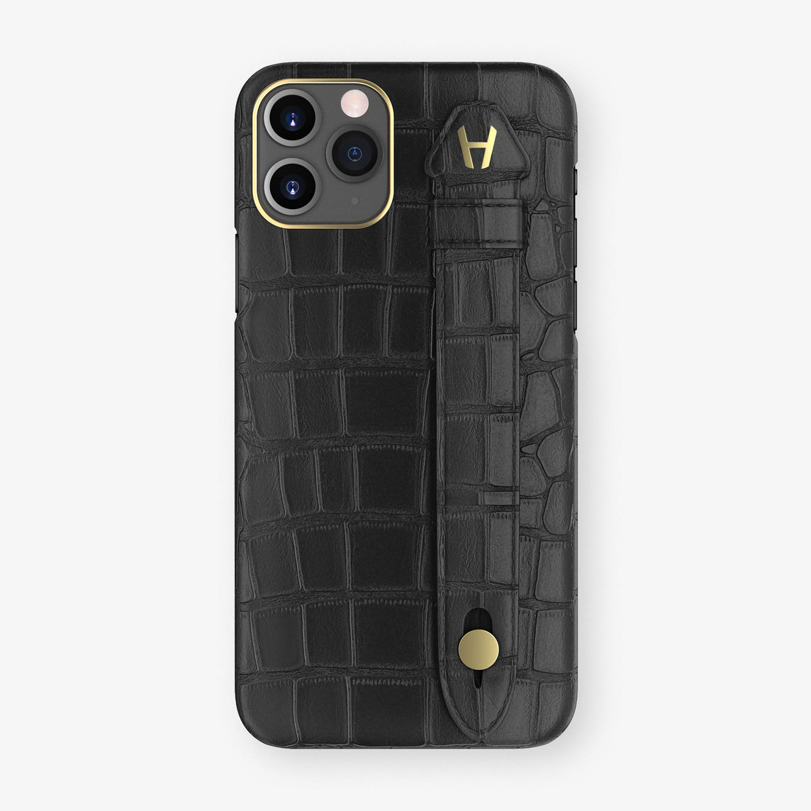 Alligator Side Finger Case Phone 11 Pro  | Black/Black - Yellow Gold