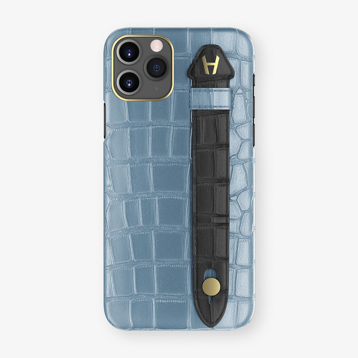 Alligator Side Finger Case Phone 11 Pro  | Blue-Ciel/Black - Yellow Gold