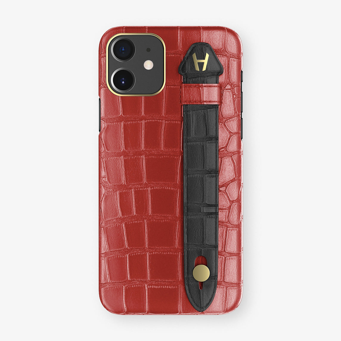 Alligator Side Finger Case Phone 11  | Red-Ruby-Nacre/Black - Yellow Gold