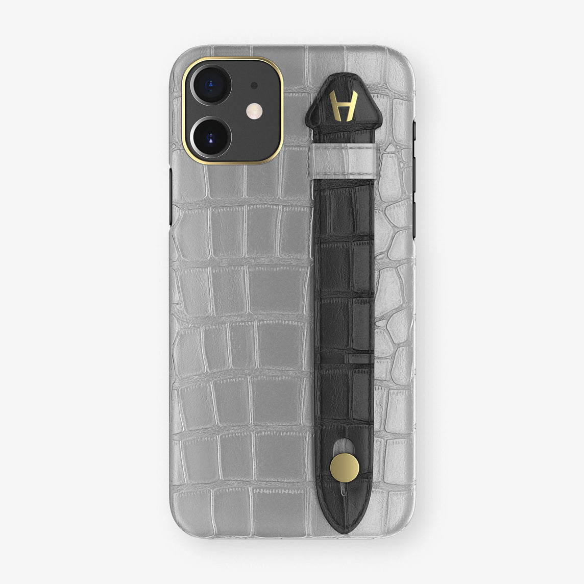 Alligator Side Finger Case Phone 11  | Silver/Black - Yellow Gold