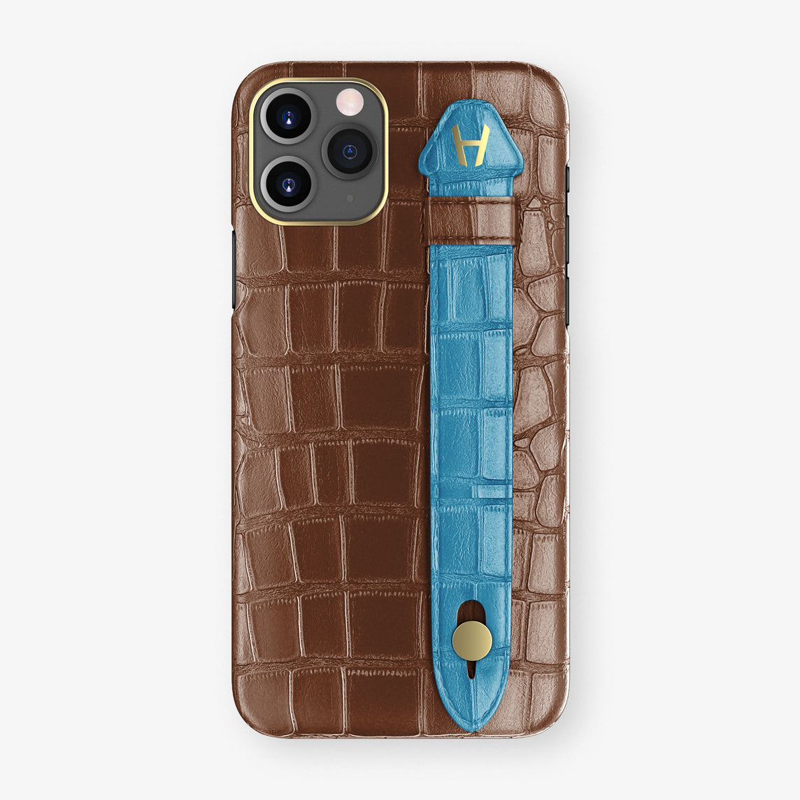 Alligator Side Finger Case Phone 11 Pro  | Brown/Blue-Lagoon - Yellow Gold