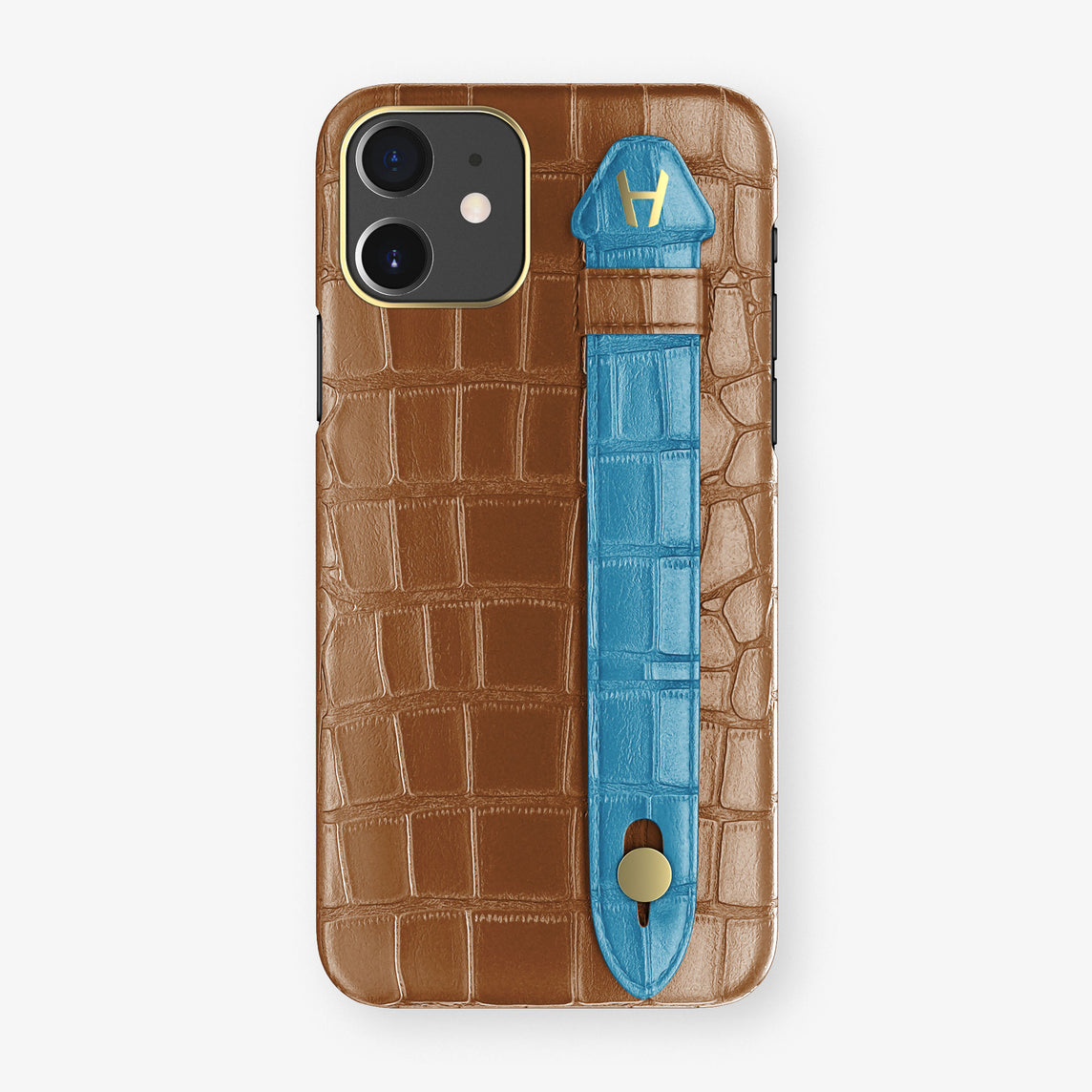 Alligator Side Finger Case Phone 11  | Cognac/Blue-Lagoon - Yellow Gold