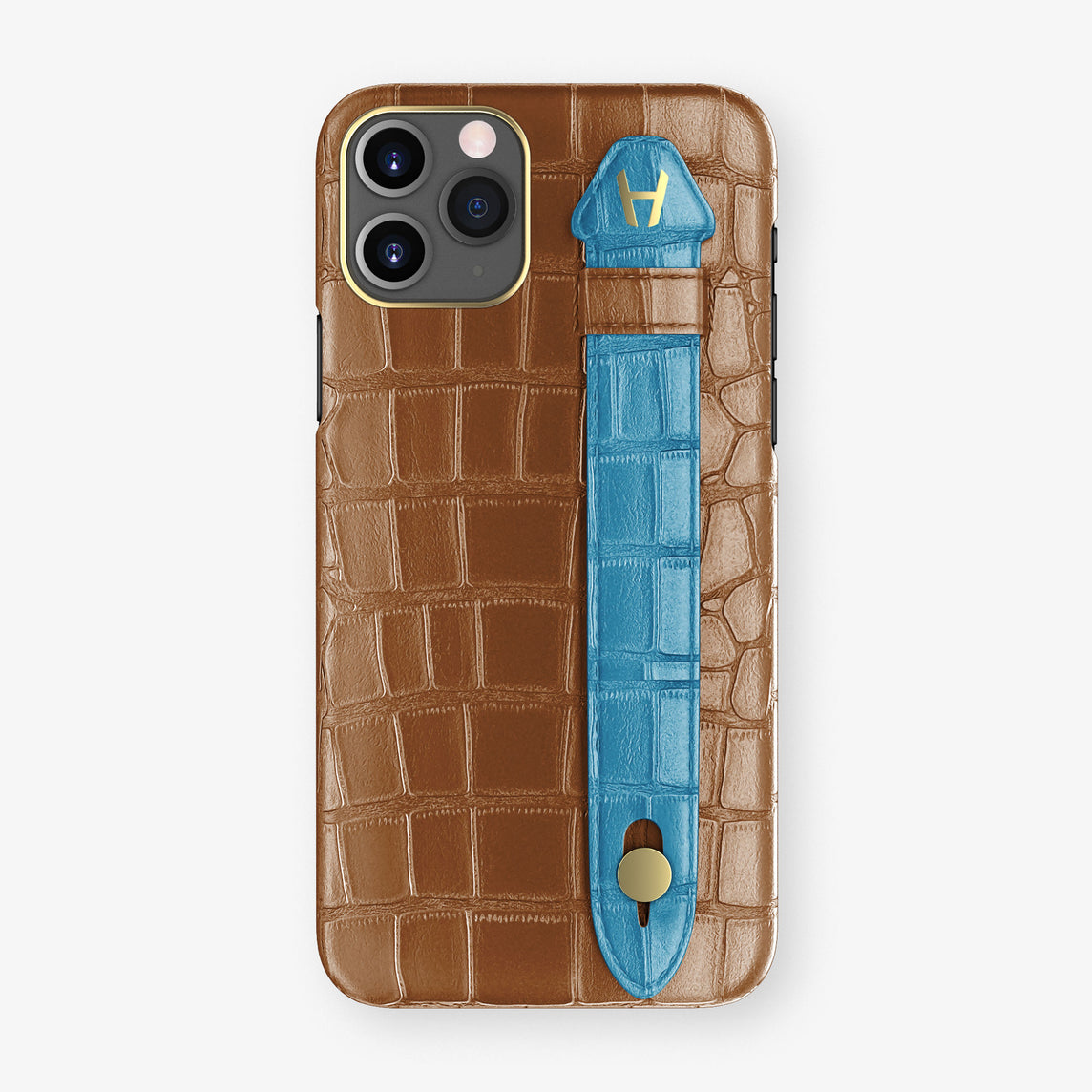 Alligator Side Finger Case Phone 11 Pro  | Cognac/Blue-Lagoon - Yellow Gold