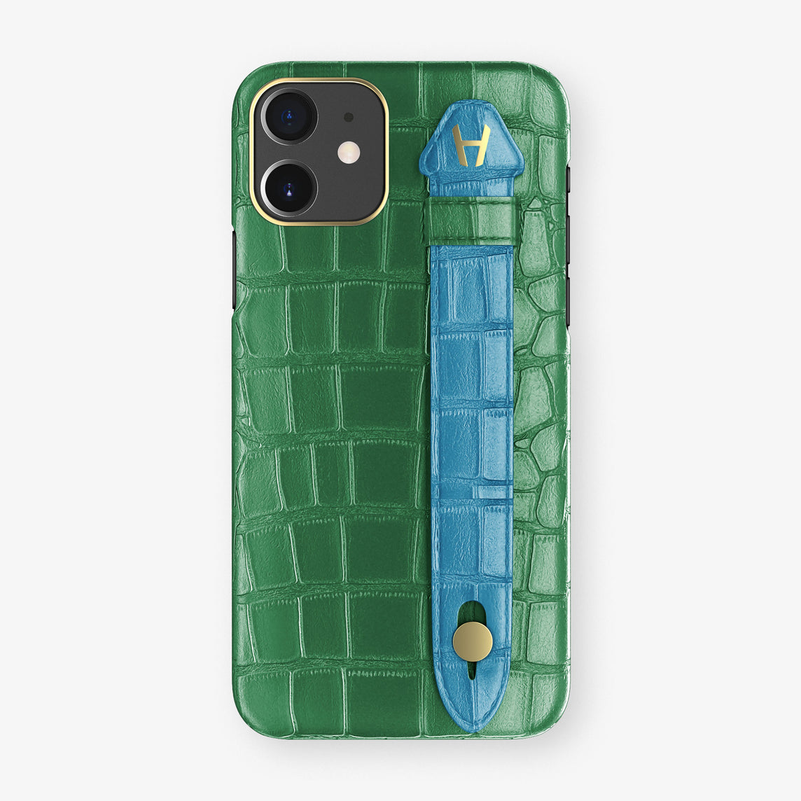 Alligator Side Finger Case Phone 11  | Green Emerald/Blue Lagoon - Yellow Gold