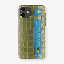 Alligator Side Finger Case Phone 11  | Khaki/Blue-Lagoon - Yellow Gold