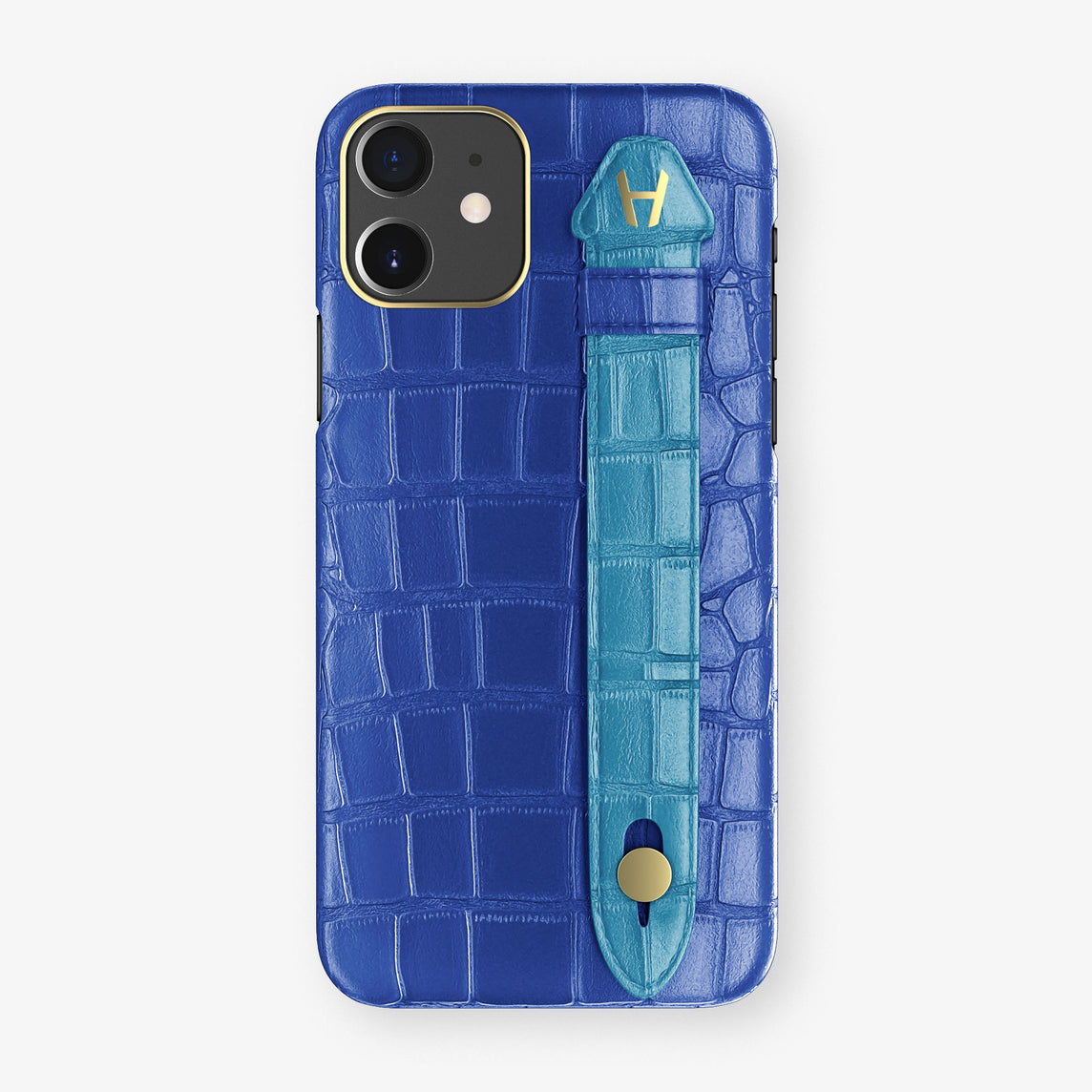 Alligator Side Finger Case Phone 11  | Peony-Blue/Blue-Lagoon - Yellow Gold