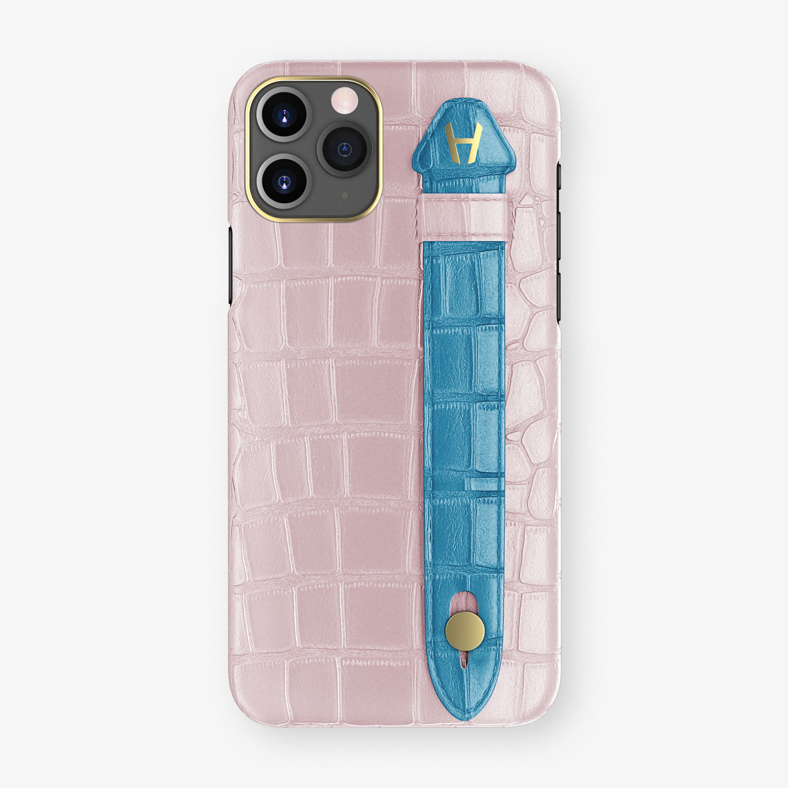 Alligator Side Finger Case Phone 11 Pro  | Pink-Poudre/Blue-Lagoon - Yellow Gold