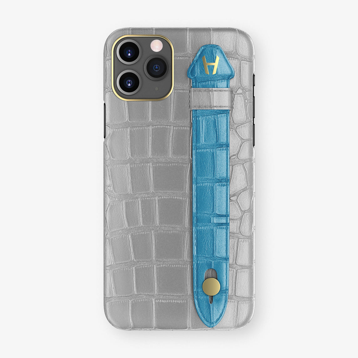 Alligator Side Finger Case Phone 11 Pro  | Silver/Blue-Lagoon - Yellow Gold