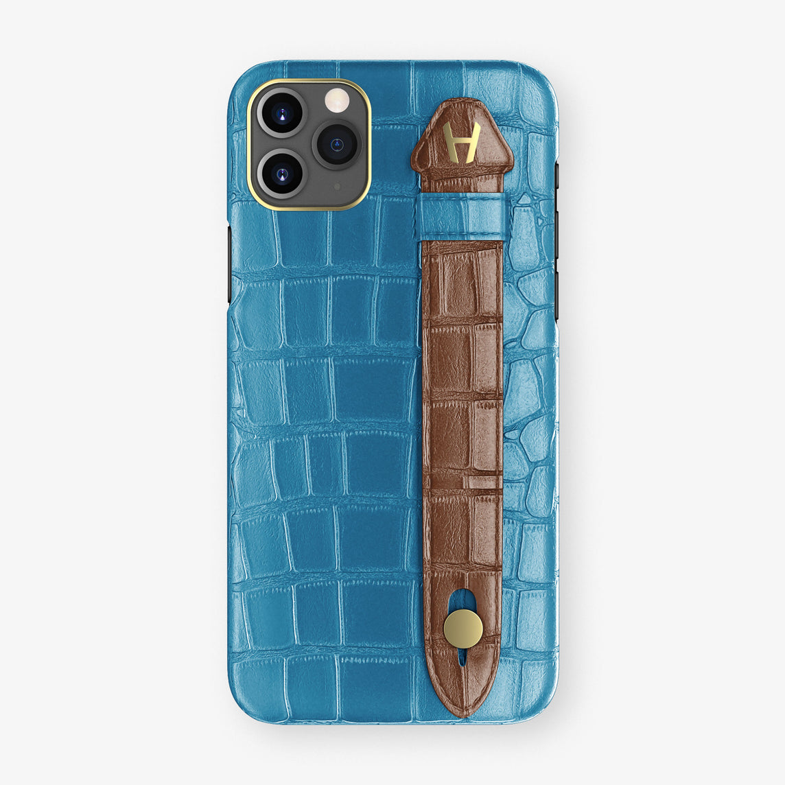 Alligator Side Finger Case Phone 11 Pro Max  | Blue-Lagoon/Brown - Yellow Gold