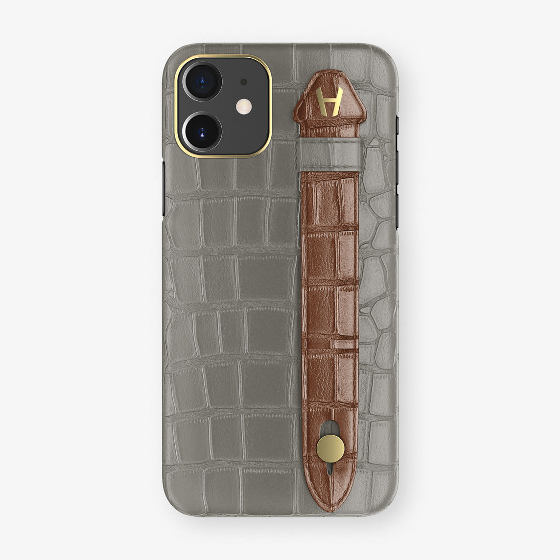 Alligator Side Finger Case Phone 11  | Grey/Brown - Yellow Gold