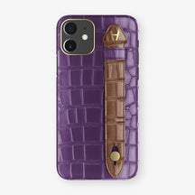 Alligator Side Finger Case Phone 11  | Purple/Brown - Yellow Gold