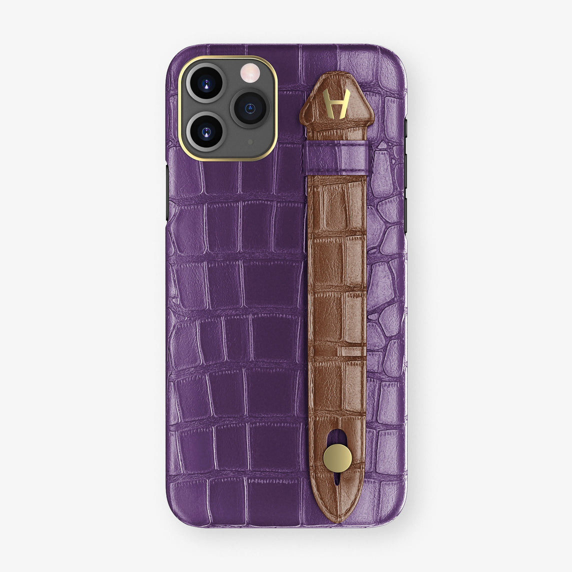 Alligator Side Finger Case Phone 11 Pro  | Purple/Brown - Yellow Gold