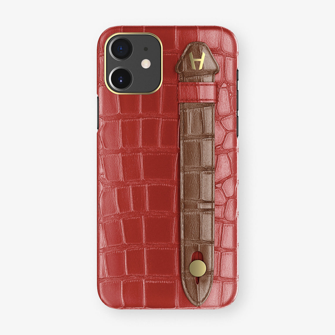 Alligator Side Finger Case Phone 11  | Red-Ruby-Nacre/Brown - Yellow Gold