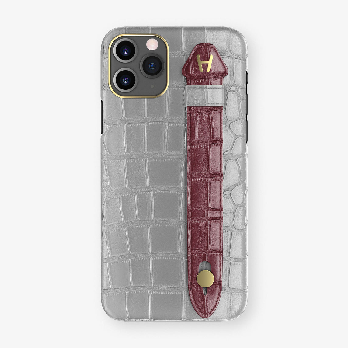 Alligator Side Finger Case Phone 11 Pro  | Silver/Burgundy - Yellow Gold