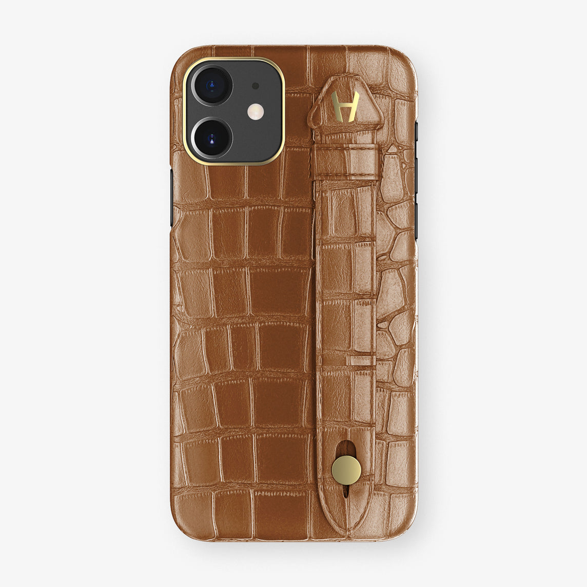 Alligator Side Finger Case Phone 11  | Cognac/Cognac - Yellow Gold
