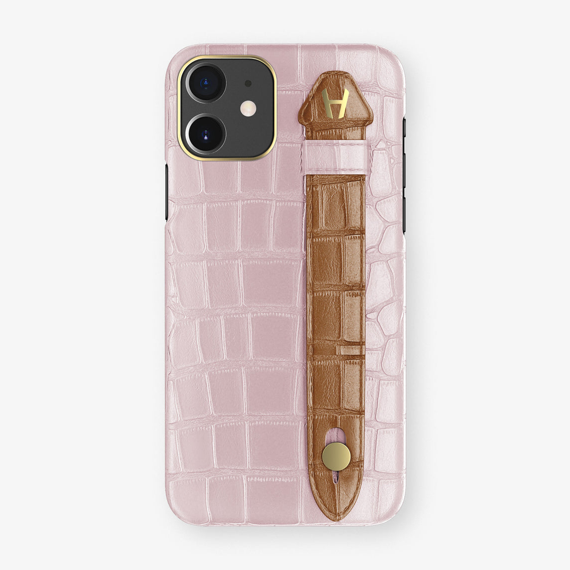 Alligator Side Finger Case Phone 11  | Pink-Poudre/Cognac - Yellow Gold