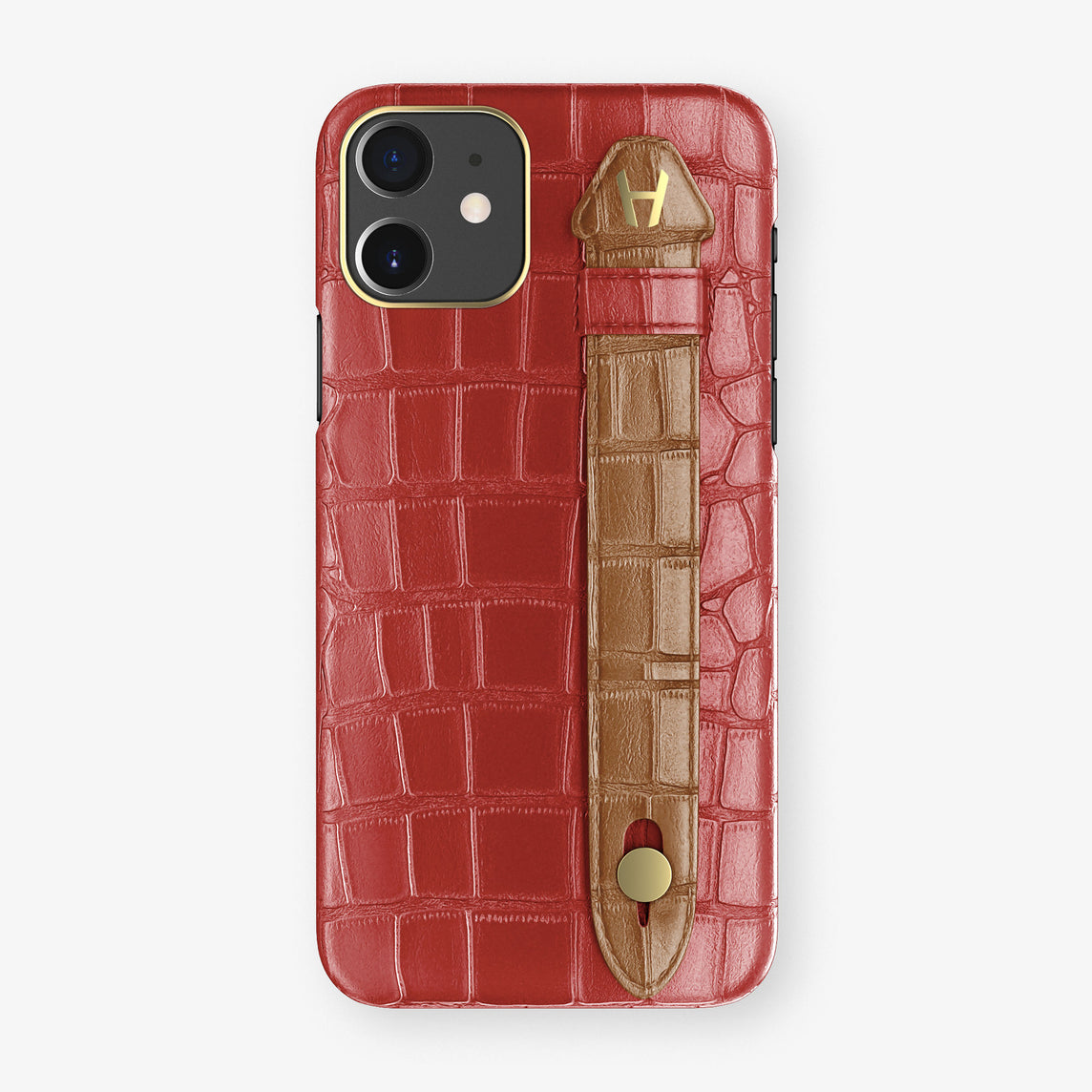 Alligator Side Finger Case Phone 11  | Red-Ruby-Nacre/Cognac - Yellow Gold