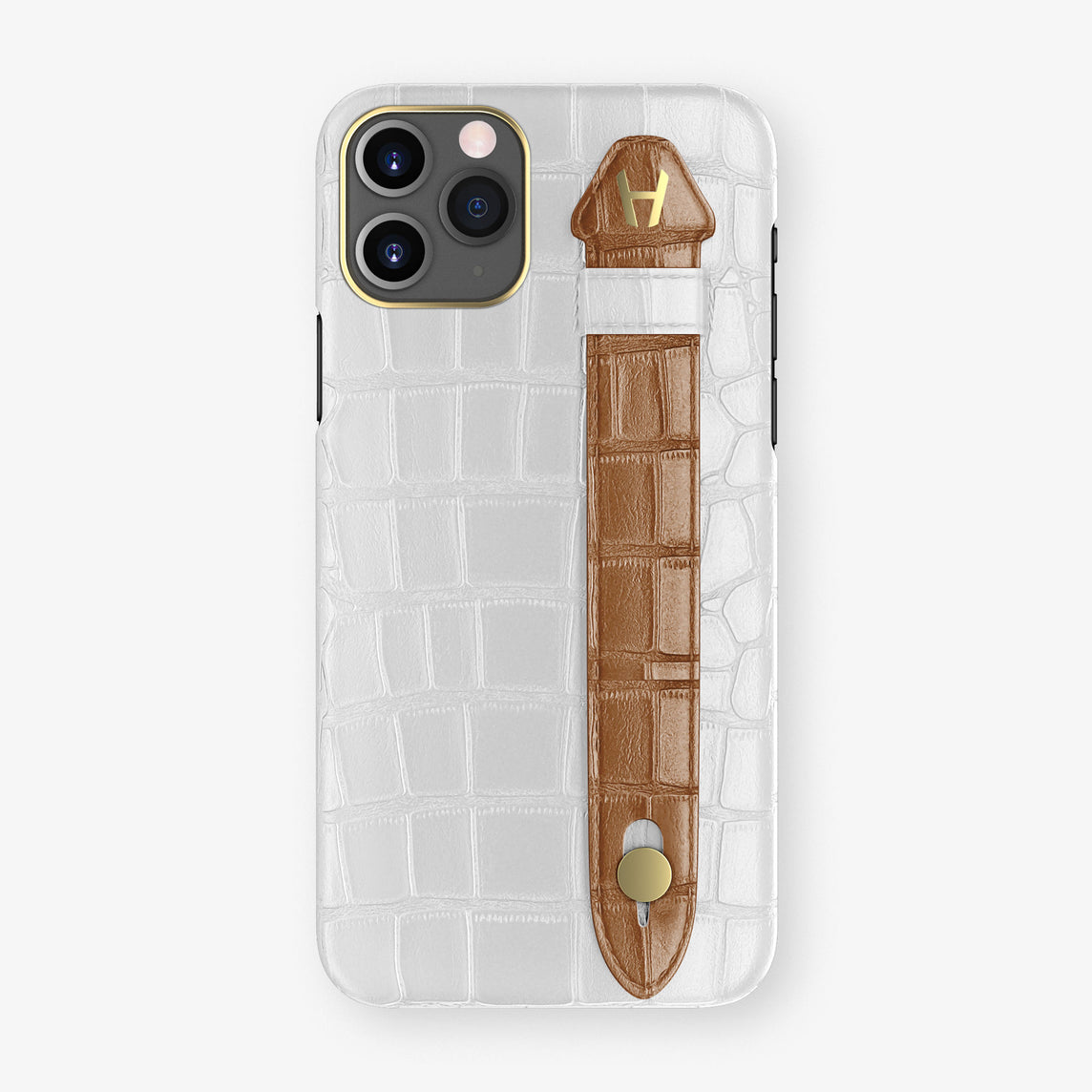 Alligator Side Finger Case Phone 11 Pro  | White/Cognac - Yellow Gold