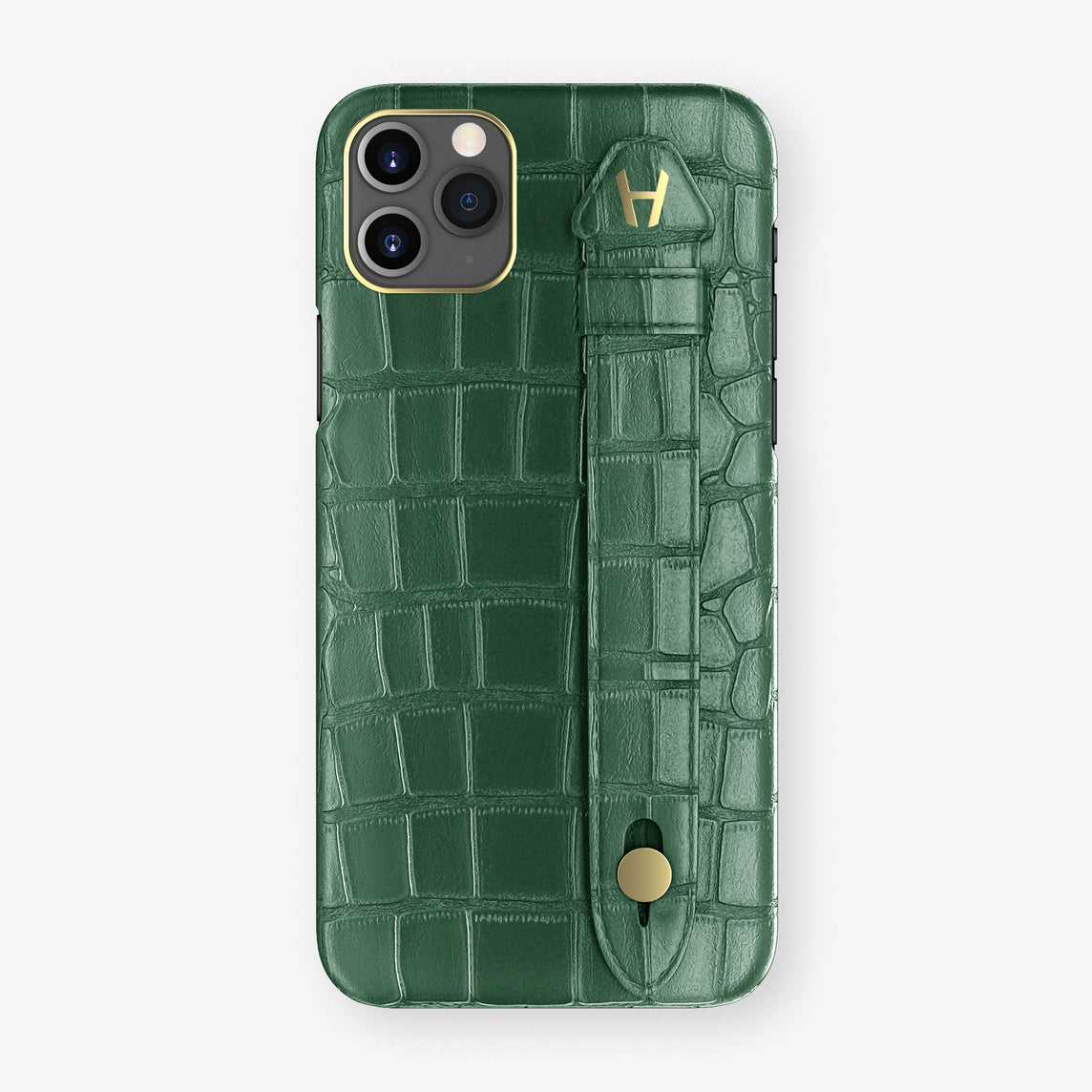 Alligator Side Finger Case Phone 11 Pro Max  | Green/Green - Yellow Gold
