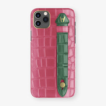 Alligator Side Finger Case Phone 11 Pro Max  | Pink-Girly/Green - Yellow Gold