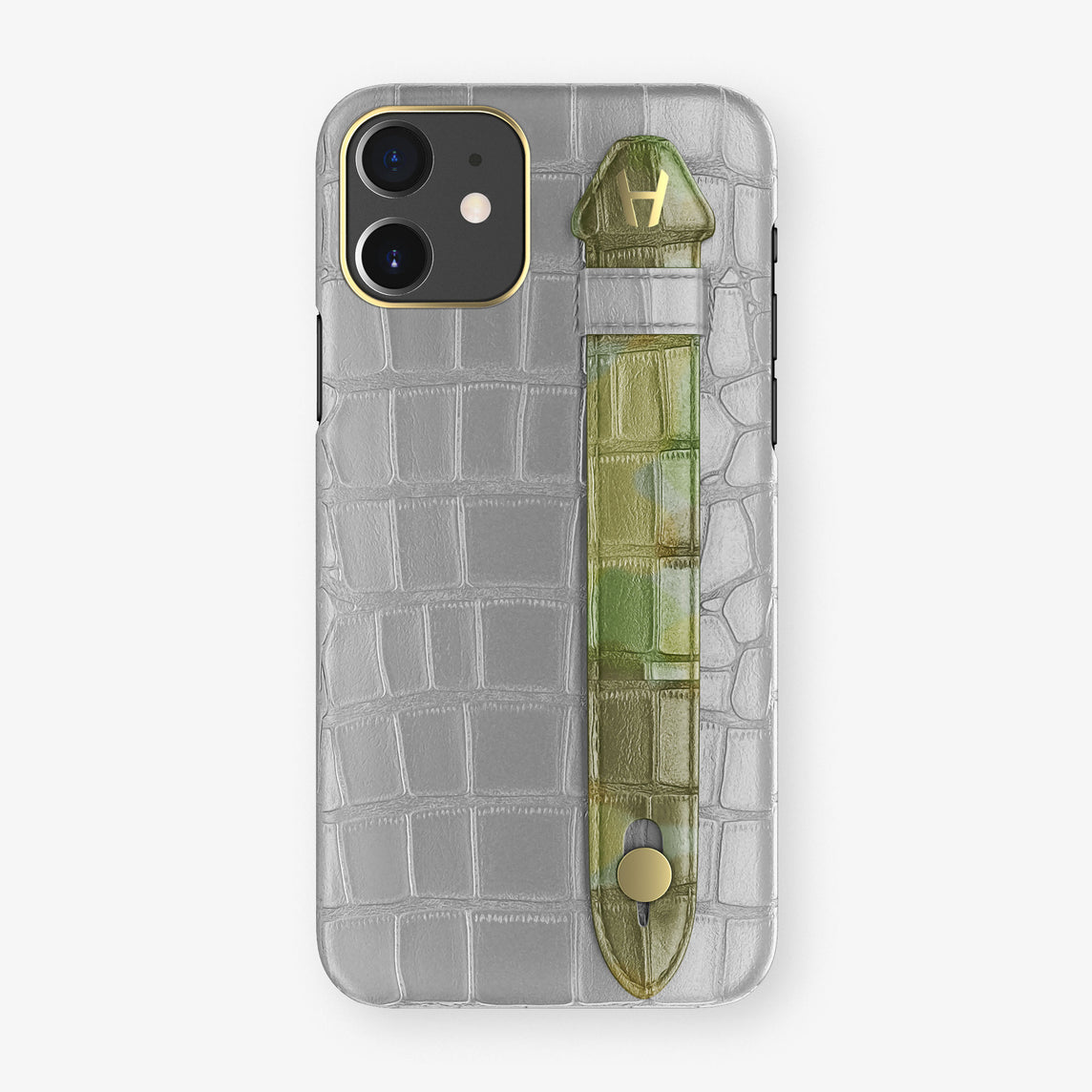 Alligator Side Finger Case Phone 11  | Silver/Green Camouflage - Yellow Gold