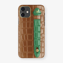 Alligator Side Finger Case Phone 11  | Cognac/Green-Emerald - Yellow Gold