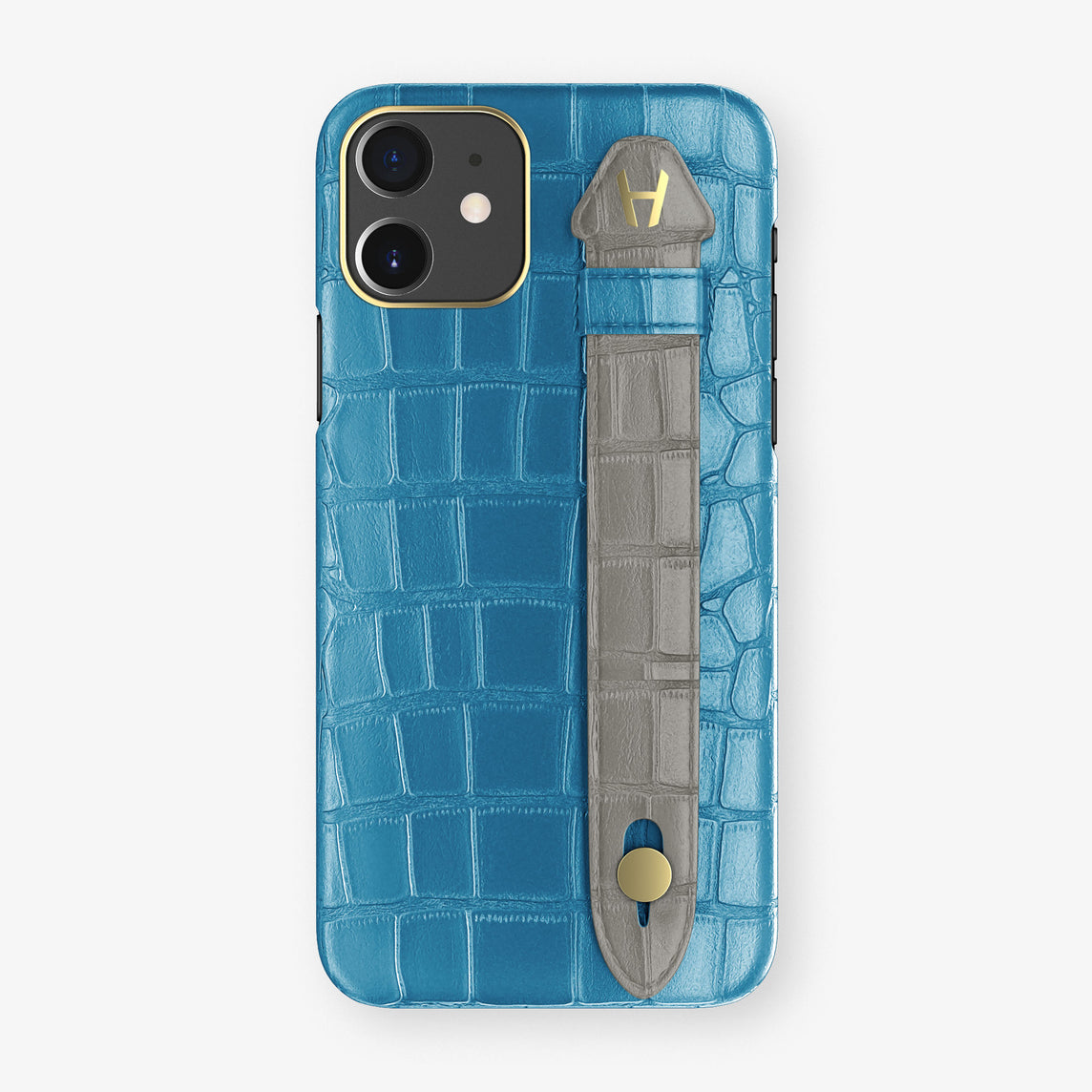 Alligator Side Finger Case Phone 11  | Blue-Lagoon/Grey - Yellow Gold