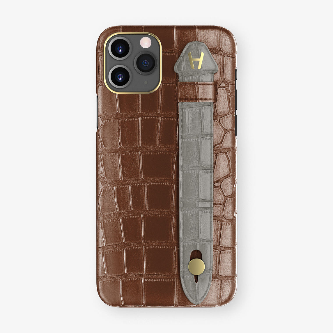 Alligator Side Finger Case Phone 11 Pro  | Brown/Grey - Yellow Gold