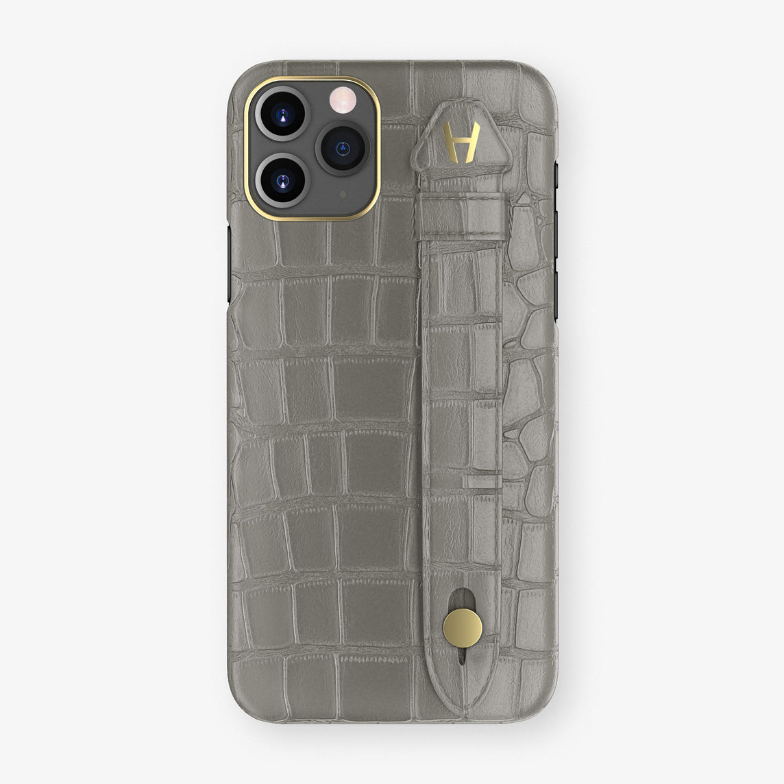 Alligator Side Finger Case Phone 11 Pro  | Grey/Grey - Yellow Gold