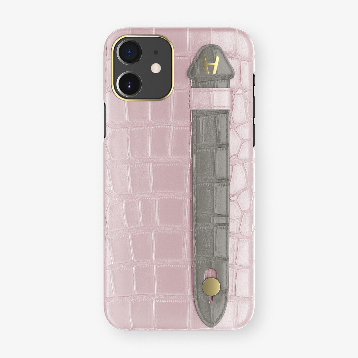 Alligator Side Finger Case Phone 11  | Pink-Poudre/Grey - Yellow Gold