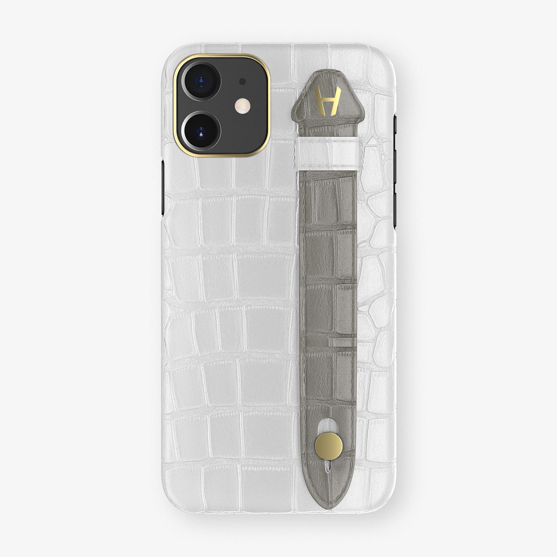 Alligator Side Finger Case Phone 11  | White/Grey - Yellow Gold