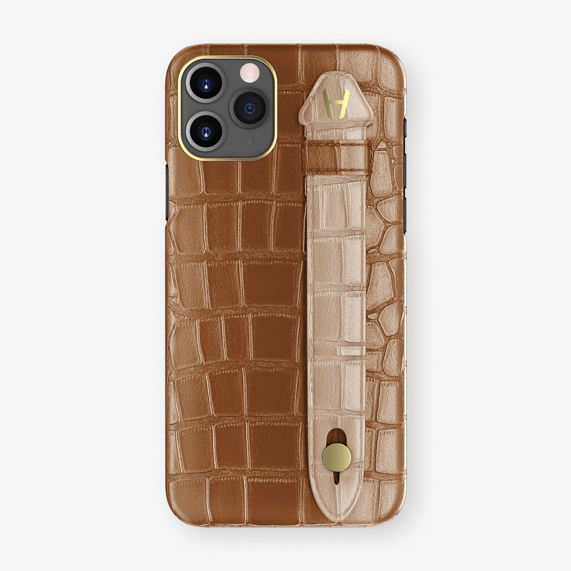 Alligator Side Finger Case Phone 11 Pro  | Cognac/Latte - Yellow Gold